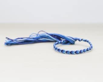Friendship Bracelet Fish Tail French Braids Braided Ombre Blue Woven Bracelet