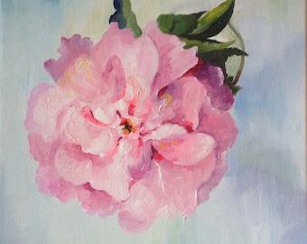 "Flowers still life painting (oil on canvas, 30x30 cm) - ""Peony"" by Masha Zurikova"