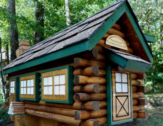 Log Cabin Mailbox Handmade Log Home Handcrafted Mailbox Painted Mailbox  Wedding Gift Anniversary Gift