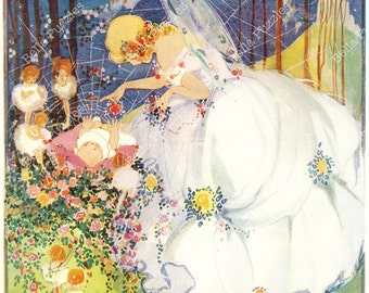 Hand-cut wooden jigsaw puzzle. Fairy in White Dress. Hilda Cowham Fairytale gift. Wood, collectible. Bella Puzzles.