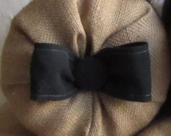 bolster pillow with black cotton bow and button 14X6, 16X6