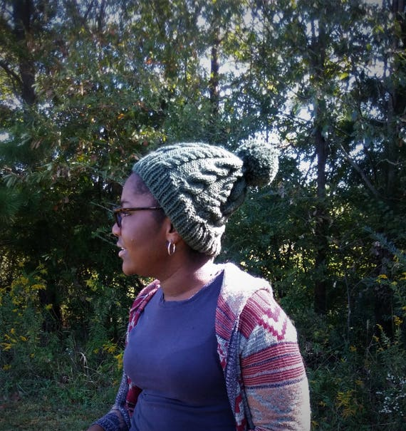 Forrest Green Pom Pom Cable Knit Beanie Hat (CHOOSE YOUR COLOR)