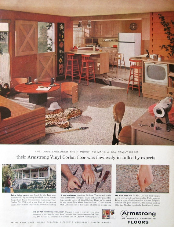 1959 armstrong vinyl floor ad 1950s country kitchen design family room decor dutch door - 1959 Home Design