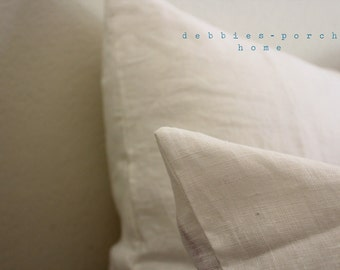 SIMPLE....SQUARE SHAMS...(set of 2)...with linen