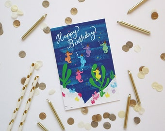 Seahorses Card - Happy Birthday - Greeting Card