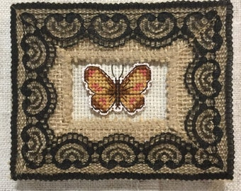 Hand sewn butterfly picture / embroidered picture / cross stitch picture / hand sewn gift / handcrafted home decor