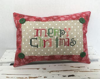 Merry Christmas Snowman pink/red Pillow, cross stitch, complete, finished
