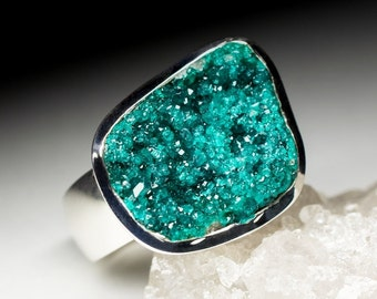 Big Dioptase Silver Ring Jewellery | Natural Organic Raw Dioptase Gemstone Sterling Silver Fine Jewelry 9551