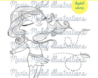 INDIAN GIRL Instant Download Digital Stamp For Scrapbooking Coloring Page Temporary Tatoo Line Art Illustration Personal Use