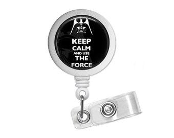 Darth Vader Keep Calm Photo Glass/ Bottle Cap Retractable ID Badge Reel, Nurse Badge Reel