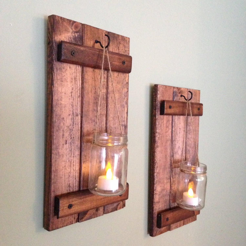 Rustic Wall Decor Wooden Candle Holder Rustic Mason Jar