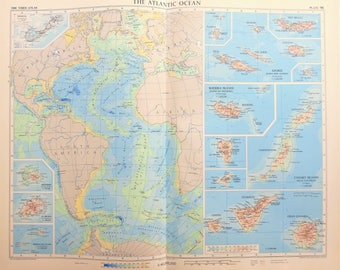 Atlantic ocean etsy vintage map atlantic ocean islands canary islands azores madeira islands 1950s cold gumiabroncs Gallery