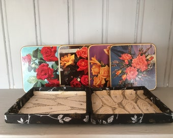 Pretty Vintage Floral Coasters with case