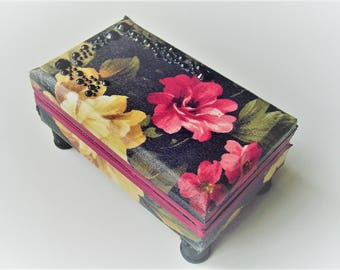 Ring box, black floral design, earring storage, gift card box, dresser decor