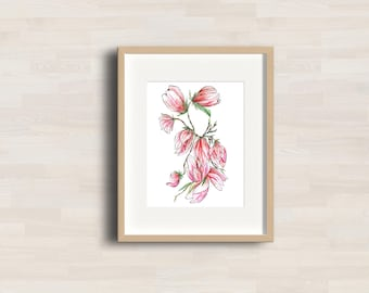 Magnolia brunch - Watercolor Artwork - Wall decor - Rose, pink