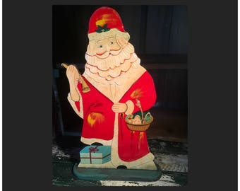 Flat wooden Father Christmas Santa Claus decoration primative wood painted gift present Saint Nicholas art