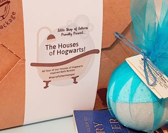 Houses of Hogwarts Bath Gift Set - All Natural Bath Fizzer - Harry Potter Bath Bombs gift - Aromatherapy Home Spa - Vegan Bath Bombs