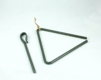 Dinner Bell, Chuckwagon Triangle, Hand Forged Cowboy Triangle Dinner Bell,