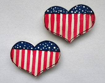 Heart Shaped Magnet, Set of TWO, Patriotic Magnet, Americana Magnets, Magnets, Tole or Hand Painted Magnets, House Warming gift,Hostess Gift