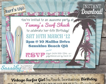 Vintage Surfer Girls Party Invitation - INSTANT DOWNLOAD - partially Editable & Printable Beach, Pool, Summer Birthday Invite