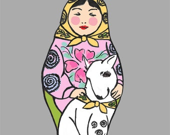 Russian Doll/Matryoshka with her beloved Bull Terrier Set of 4 cards