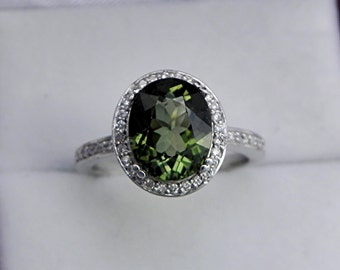 AAAA Green Tourmaline   10x8mm  2.95 Carats   in 14K white gold Halo engagement ring with diamonds (.25ct) Ring 1608