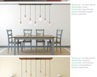 Dining Chandelier Rustic Modern 7 Pendant Lights Antique Edison Bulb Reclaimed Wood Lighting
