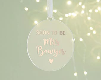 Fiancee Christmas Gift Personalised Bauble
