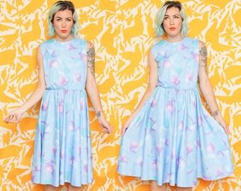 Blue Floral Dress // Sleeveless Polyester Dress // 70s 80s Ms Lea Casual Tank Dress Size Medium Large