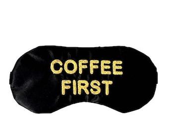 COFFEE sleep mask • Adjustable sleep mask • Coffee lover gift • Teacher gift • Handmade gift • Travel mask • Dad sleep mask • Gifts under 20