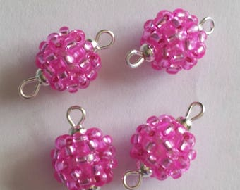 4 beads seed connectors (2.5 mm) silver lined fuchsia