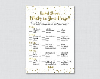 Gold What's in Your Purse Game - Printable White and Gold Faux Foil Bridal Shower Purse Game - Gold Bridal Purse Raid Game 0010-G