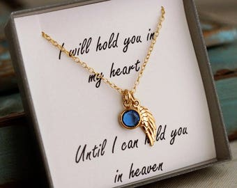 Remembrance Jewelry  Gold / I will hold you in my heart until I can hold you in heaven / Memorial Necklace