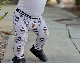 Ice Cream, Baby Leggings, Baby Girl Leggings, Gender Neutral Baby Clothes, Organic Baby Clothes, Ice Cream Pants, Baby Girl, Baby Pants