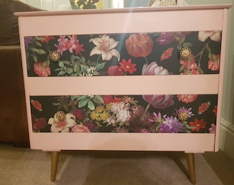 Dresser decopauged with mirror and two drawers