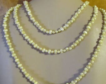 Vintage Long Single Strand Rice Pearl Necklace