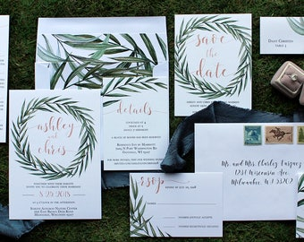 Downloadable Sage Greenery and Rose Gold Wedding Invitations, Save the Dates, Menus, Programs, Table Numbers & Place Cards: DCo Lovenotes