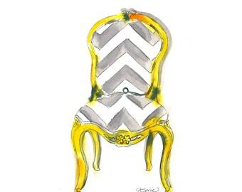 Yellow Chevron Chair Art Print-Yellow Chair-Wall Art-Giclee-Home Decor-Chair Prints-Chair Gallery Wall-Yellow Chair Print-Office Art-Chair