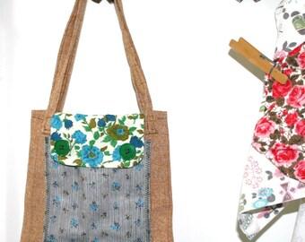 Vintage Fabric Tote Bag Brown Blue Black Green Revamp Reuse Recycle OOAK