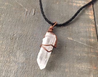 Quartz Pendant - Wire Wrapped Quartz Crystal Pendant Necklace - Gift for Healer - Copper Wire Wrapped Pendant -  Gift for Her - Handmade