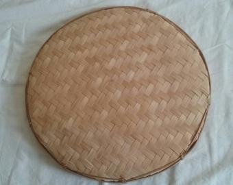 Vintage Decorative Woven Tray/Rice Mat/Handmade Art/Wall Decoration/Wicker/Ratan/Antique/Ethnic