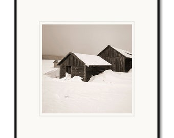Colorado rustic winter barns, Walden, Steamboat, photography, black and white, sepia warm tone, framed photo by Adrian Davis, limited art