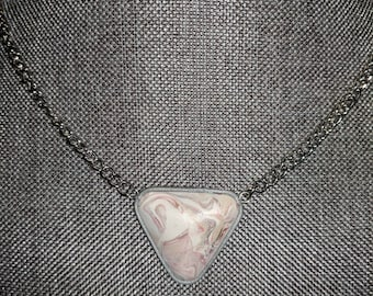 Pink and White Swirled Triangle Necklace