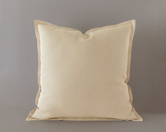Ivory, light beige linen pillow cover with a flange in 16x16 inches / 40x40 cm, neutral decor, last pieces