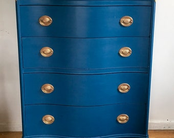Antique Dresser, Teal Dresser, Antique Chest Of Drawers, Vintage Highboy  Dresser, Federal Style Dresser, Free NYC Delivery