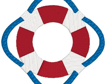 BUY 2, GET 1 FREE - Filled Nautical Life Preserver Machine Embroidery Design - Life Saver - 3 Sizes - 4x4, 5x7, 6x10