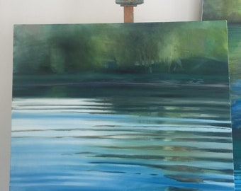 White River in blue  - large water study- original oil painting- water art