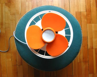 Vintage electric fan, vintage wall fan, vintage fan, 1970s fan, retro fan, orange retro