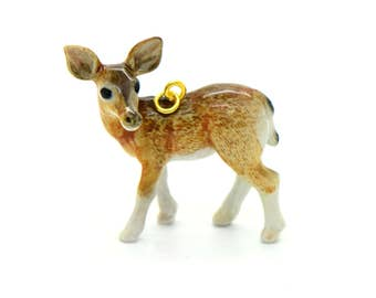 Porcelain Doe Deer Pendant Hand Painted Glaze Ceramic Animal Small Ceramic Female Deer Bead Jewelry Making Supplies (CA212)