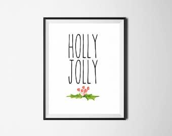 Christmas Digital Print, Holly Jolly, Christmas Printable, Christmas Wall Art, Christmas Decor